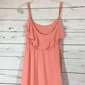 Garnet Hill Peach Ruffle Maxi Dress Size XS